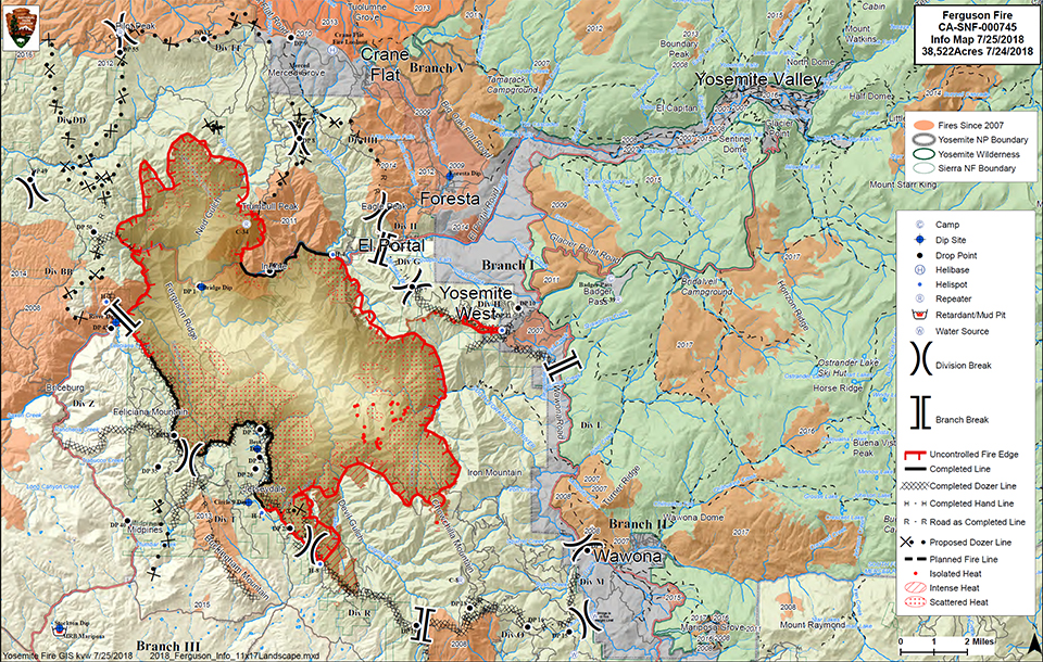 Fire Map Yosemite.Ferguson Fire Update Additional Park Closures Yosemite National