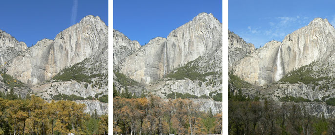 Yosemite Falls goes from dry to full in a month.