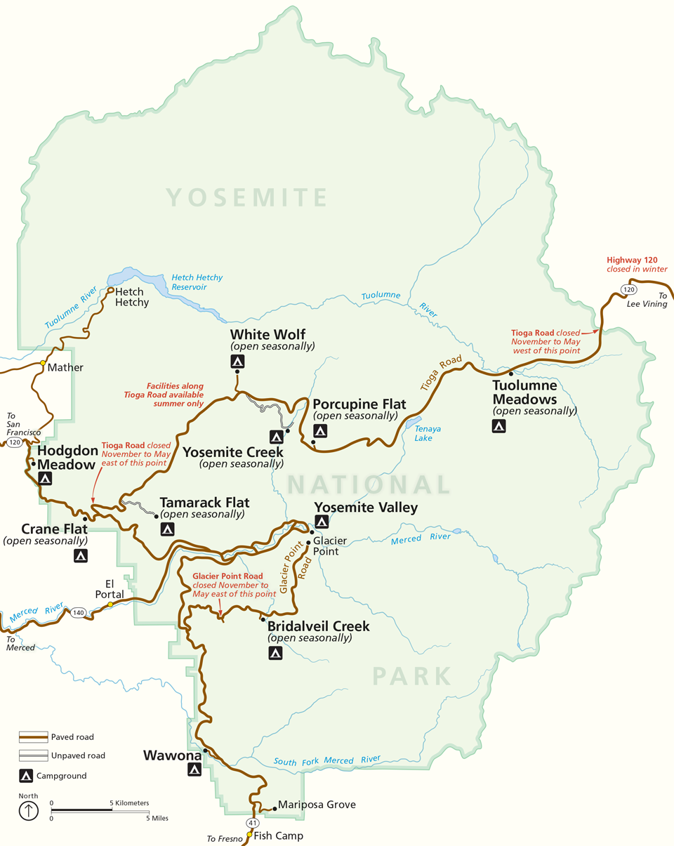 Places To Go Yosemite National Park US National Park Service – Yosemite Tourist Map