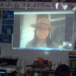 Ranger using videoconferencing to speak with students