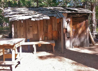 A Miwok Cabin resembles a tool shed because local Indian people began emulating the building styles of Euro-Americans.