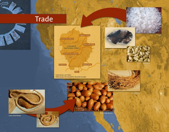 Trade Map showing Clam shell beads, black oak acorns, dried sage, pine nuts, obsidian and salt were just a few of the items traded among the tribes and other groups that traveled to and from Yosemite to trade.