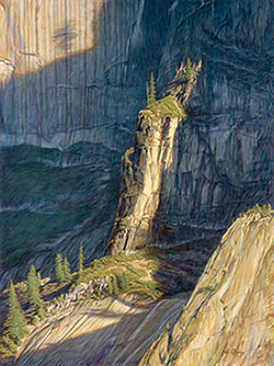 Oil painting of a cliff edge surrounded by shadows.