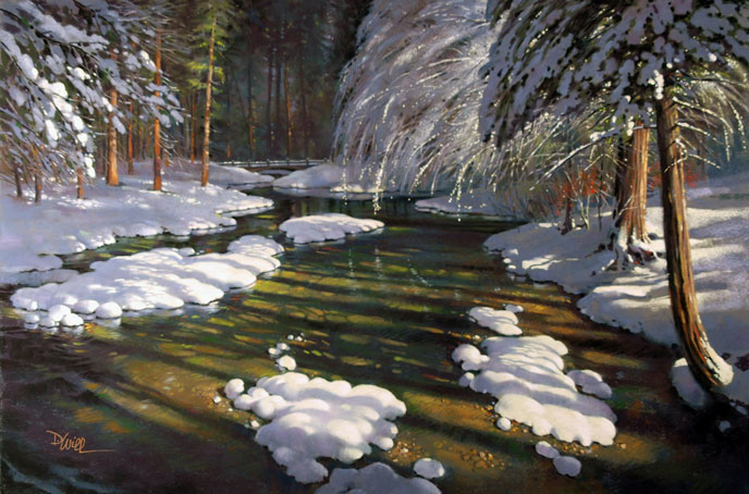Artist's illustration of fresh snow around a river.