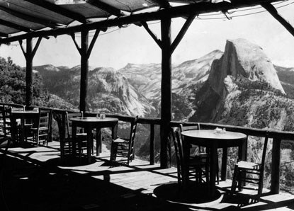 B&W historic photo of cafe porch