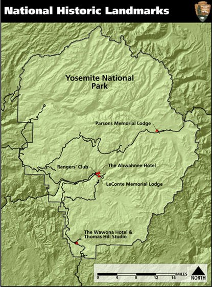 Boundary of Yosemite with fie marked National Historic Landmark properties