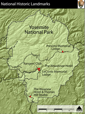 Boundary map of Yosemite with five marked locations