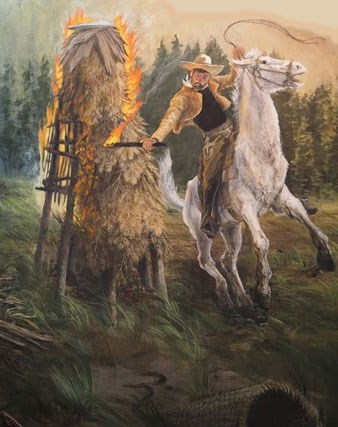 Man on a white horse carrying a whip and a torch setting fire to an acorn granary.