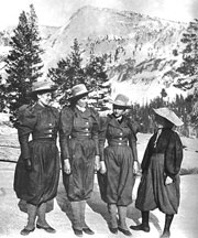 B&W image of four women climbers
