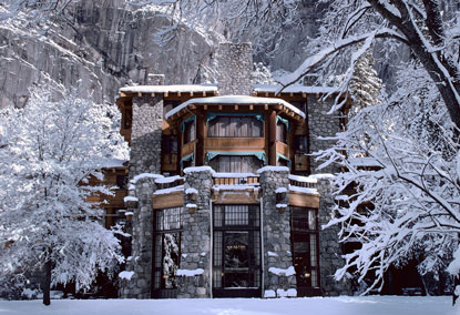 Winter scene of Ahwahnee Hotel exterior