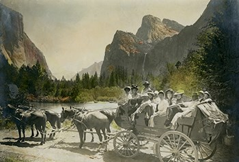 Photo of horse drawn wagon and early Yosemite visitors