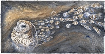 Artistic rendition of a spotted owl for the Renaissance 33 exhibit