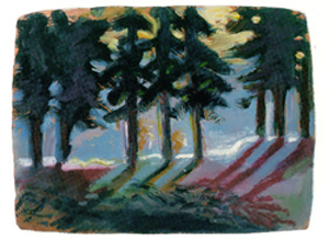 Richard Lopez, Brace of Winter Trees, oil stick/oil, 22 x 30.  Yosemite Museum Collection (YOSE 90233).