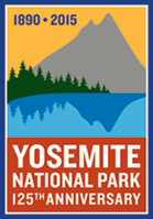 Yosemite's 125th Anniversary logo showcasing Cathedral Lakes and Peak