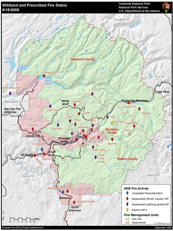 Yosemite boundary map with fire locations marked by diamonds