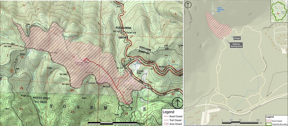 Map showing closure of Lower Yosemite Fall boulders and Crane Flat helibase