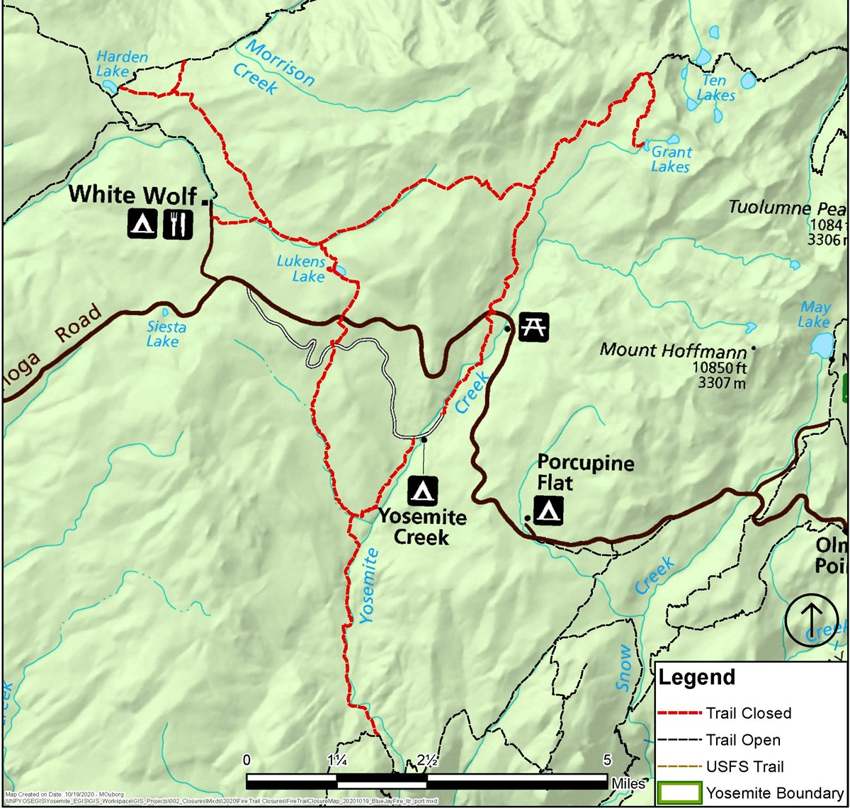 Map showing trail closure along Yosemite Creek as well as Lukens to Ten Lakes junction, closed