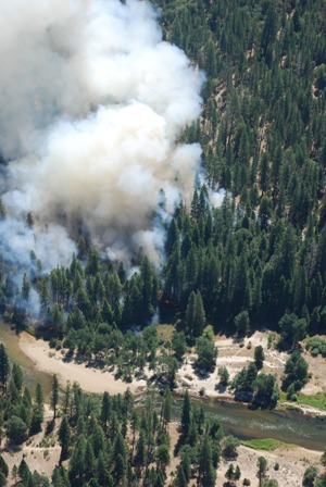Aerial view of prescribed fire in Yosemite Valley