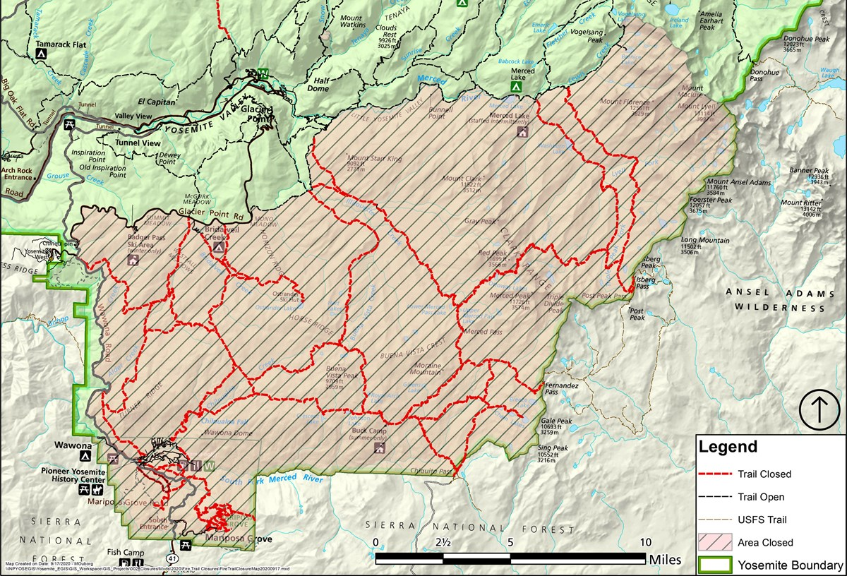Map showing most trails south of Glacier Point Road closed