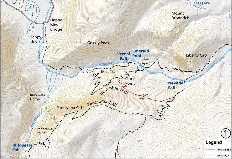 Map showing the John Muir Trail closed from the junction near Clark Point to the junction with the Panorama Trail southwest of Nevada Fall