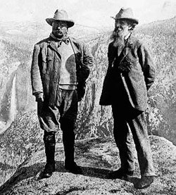 John Muir and Theodore Roosevelt at Glacier Point (1903).