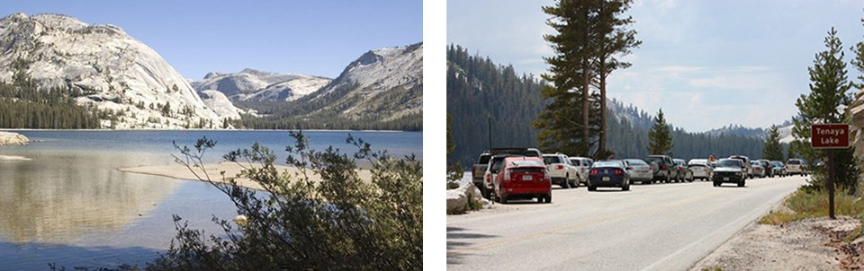 Tenaya Lake on the left, right photo shows excess cars in offroad parking near the lake