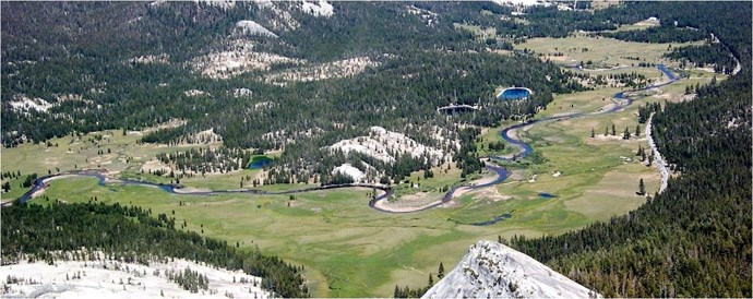 Aerial view of Tuolumne Meadows