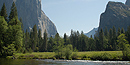 The Merced River flowing serenely through Yosemite Valley