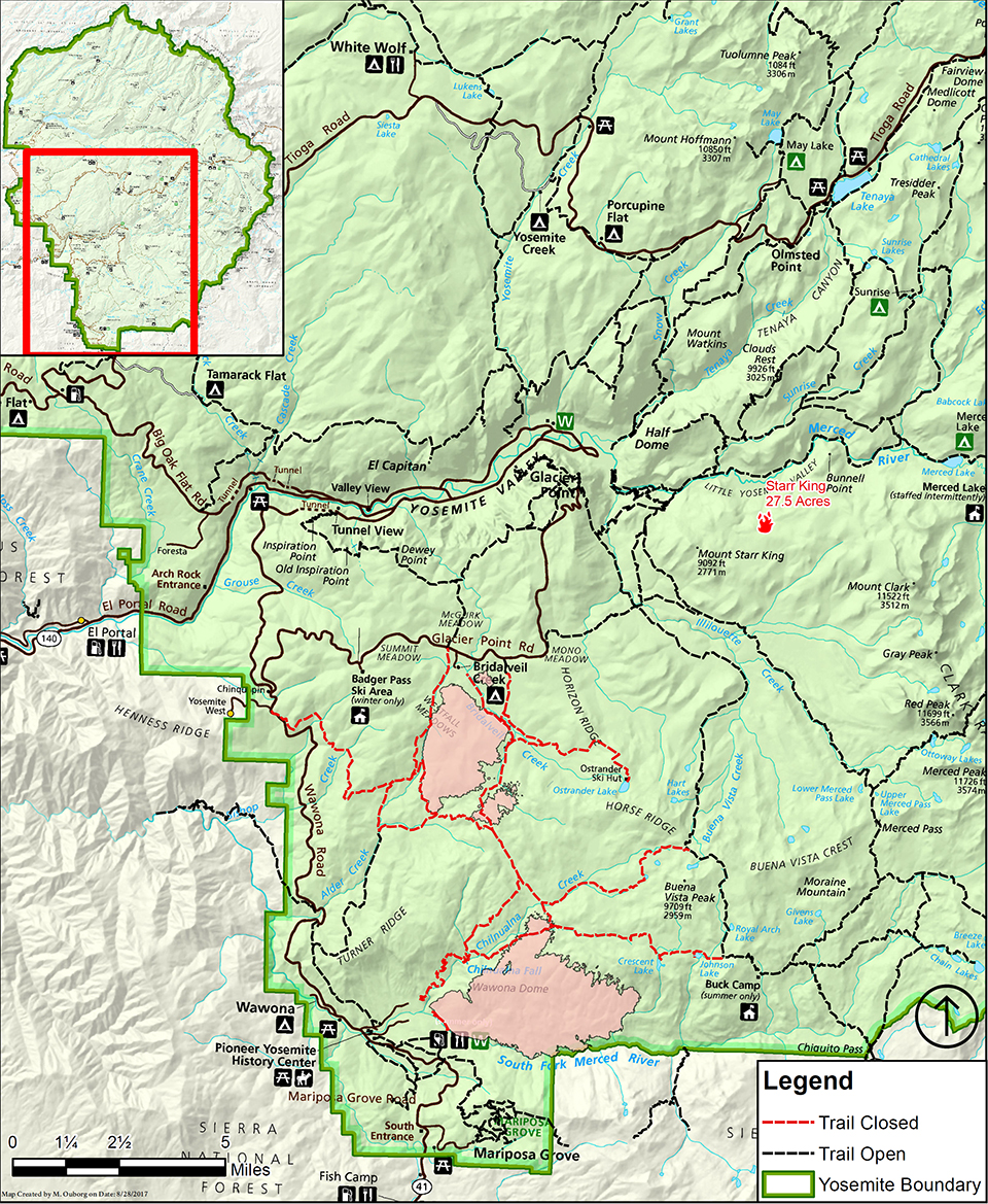Map showing trail closures due to Empire and South Fork Fires