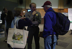 Visitors and NPS Employee at the March 2006 Open House.