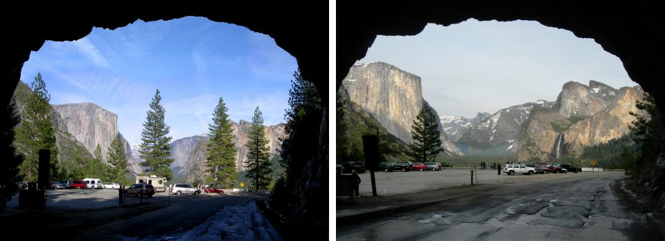 Two side by side images of Tunnel View before and after some scenic vista clearning