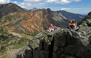 Biologists using binoculars to spot bighorn sheep in the mountains