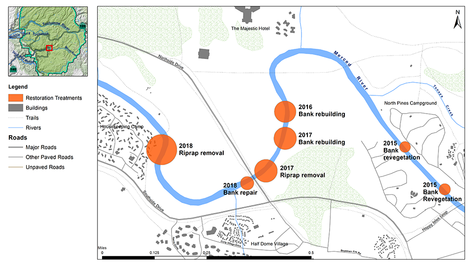 Map of Merced River Restoration Project Areas