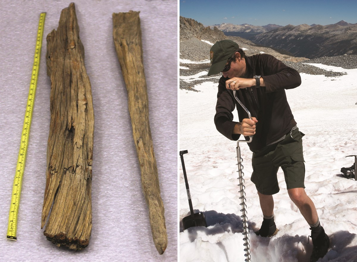 Two photos, one shows old wooden stakes, the other shows a man drilling a metal pole into a glacier