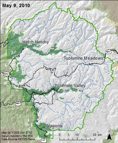Yosemite boundary map with snow areas marked