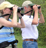 Two people hold binoculars up to face while birding.