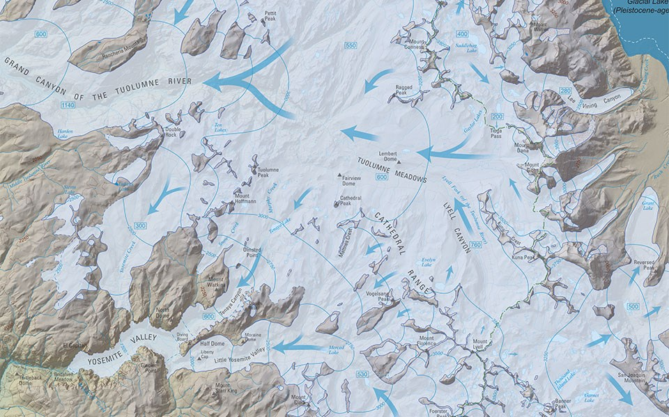 Partial map of Yosemite showing direction of glacial flow in and around Yosemite Valley