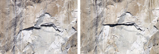 Close-up of El Capitan comparison photos where white areas show where rock fall has occurred