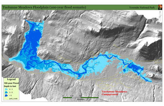 A map uses shades of blue to show where previous floods have occurred