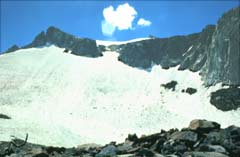 Upper End of Lyell Glacier Rimed with Jagged Granite Peaks