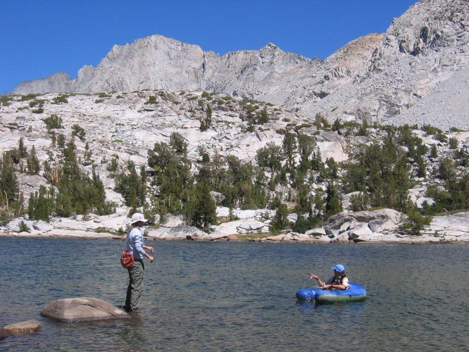 Crews using gillnets in high elevation lake
