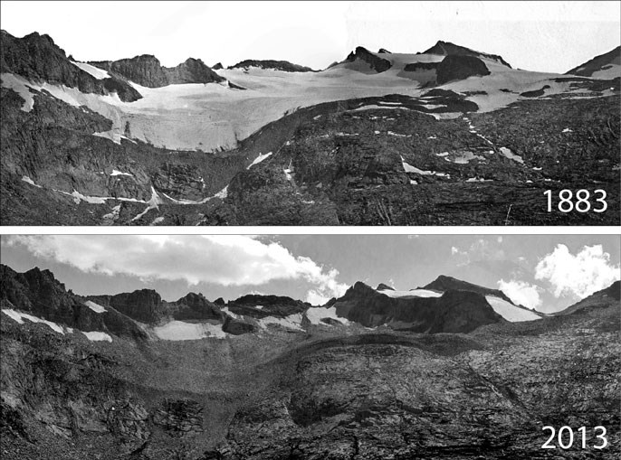Repeat photography shows that the extent of the glacier is very small in 2013 compared to 1883.