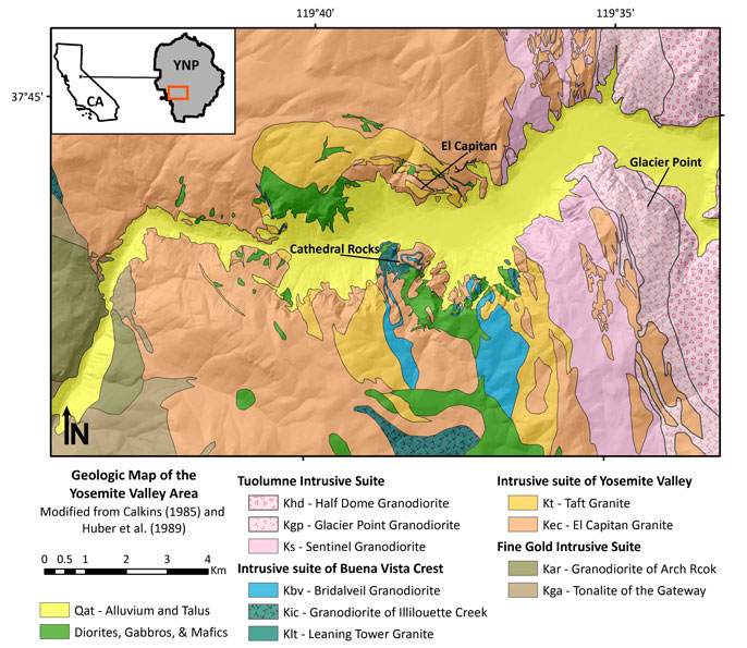 Geologic map of Yosemite Valley