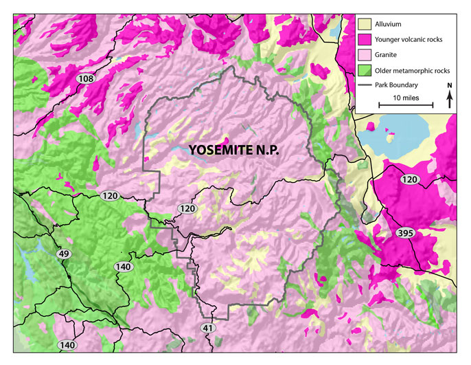 Geologic map of Yosemite region