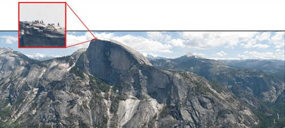Inset pic pulled out of landscape showing people standing on top of Half Dome