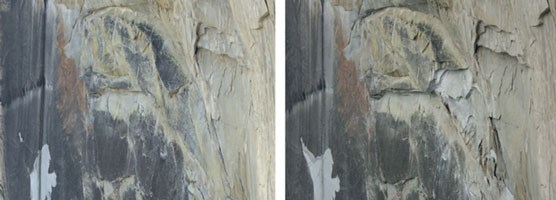 Comparison of Half Dome close-ups with white spots showing where rock fall has occurred