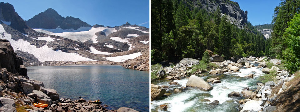Photo on left shows a high-country glacial lake; photo on right shows a raging river