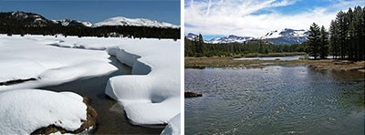Photo on left shows flooding river; photo on right shows water flowing through snow