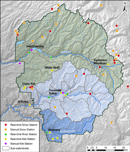 Hydrometeorological Monitoring Map Yosemite National Park US - Yosemite national park on us map