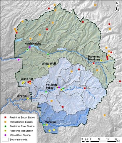 Hydrometeorological Monitoring Map - Yosemite National Park (U.S. ...